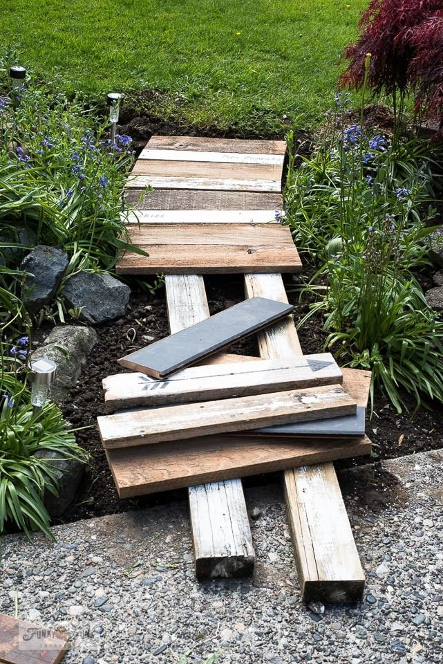 Build a charming garden-themed reclaimed wood walkway! (fast & easy)