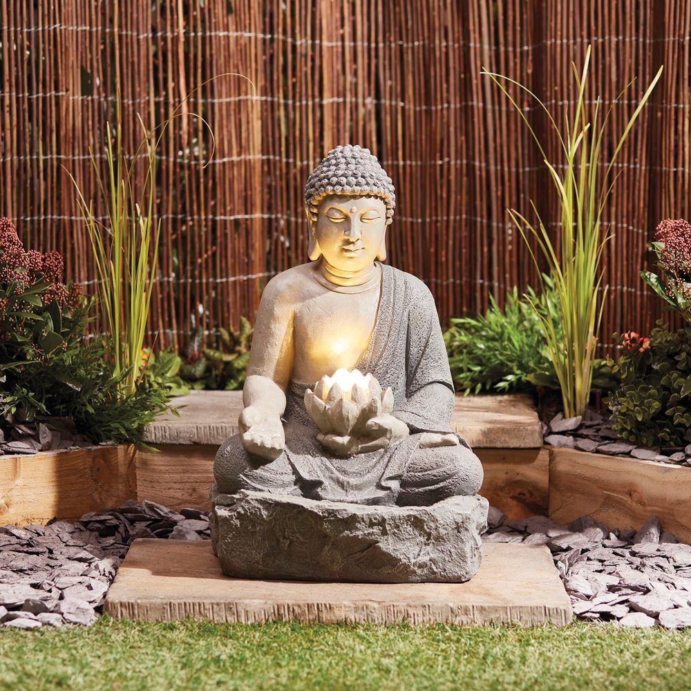 Details about Serenity Buddha Garden Water Feature Fountain LED Self Contained 56cm Ornament