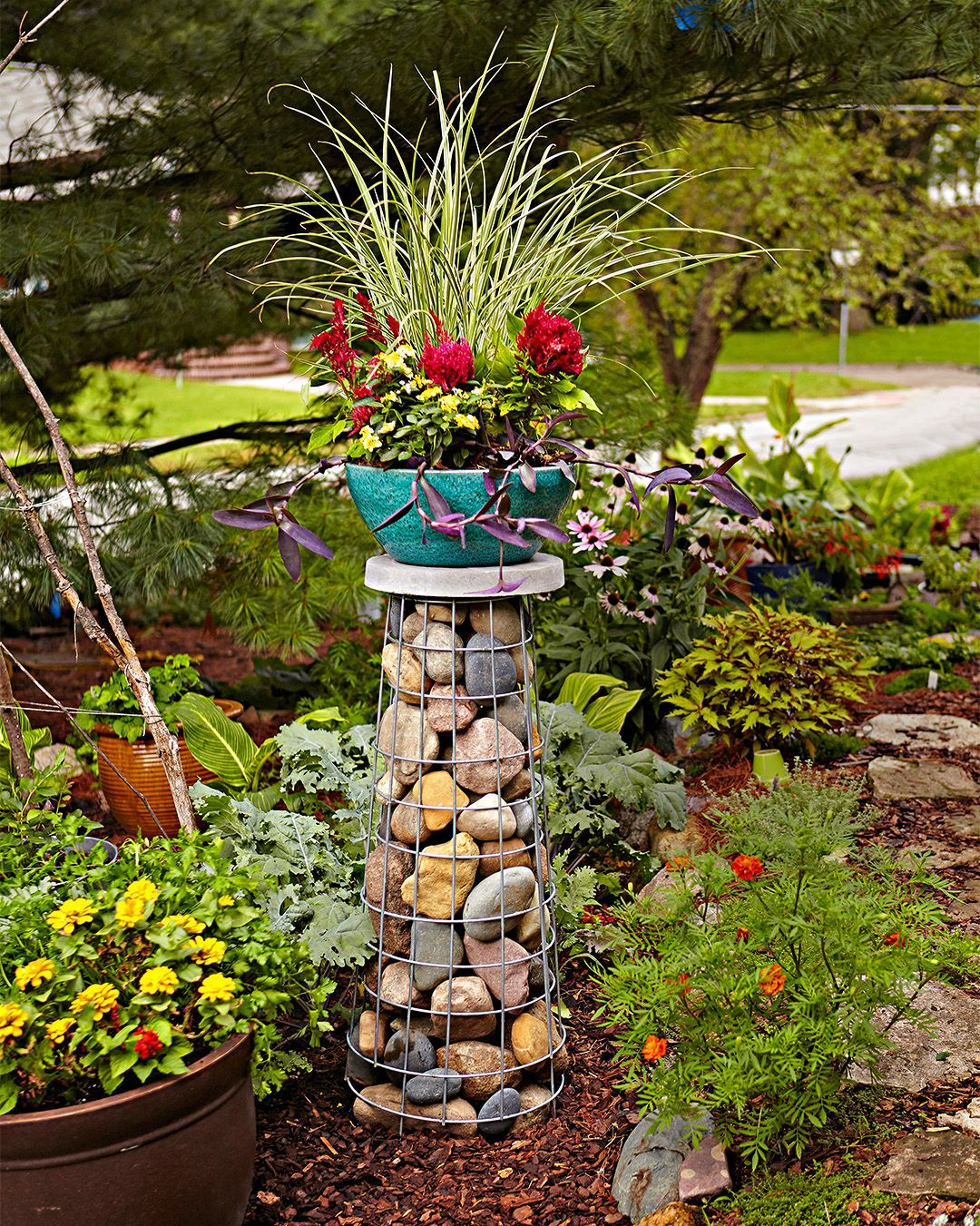 Elevate Your Container Garden With a Gabion Plant Stand