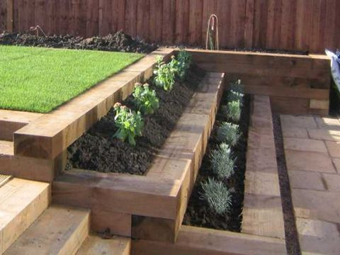 """Web results for """"retaining wall wooden sleepers"""" # wooden sleepers #results #stutzmauer # ......"""